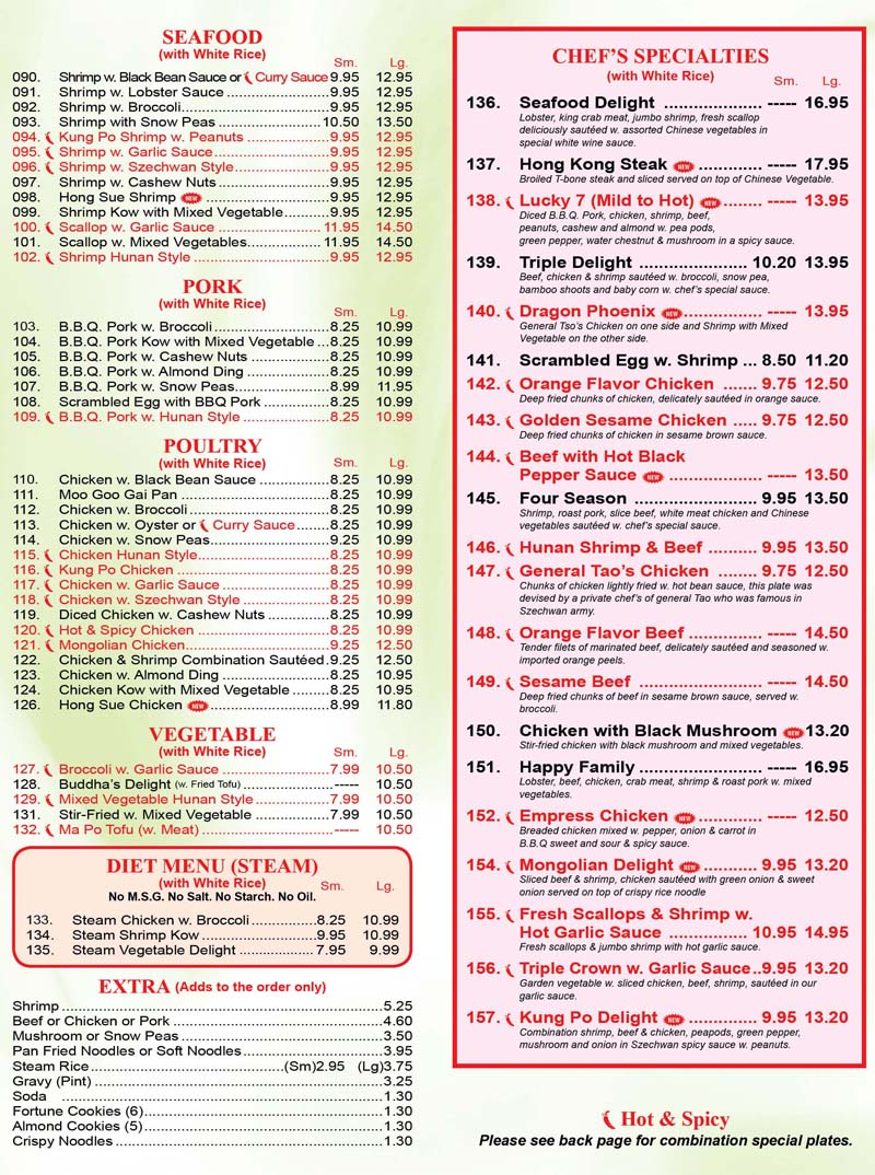 Chinese Number One Kitchen  Menu